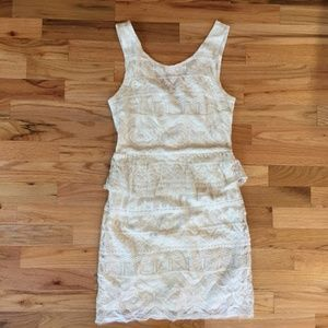 American Eagle Outfitters Cream Peplum Dress NWT